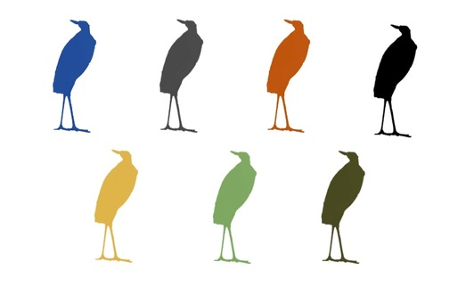 Erect heron silhouette in 7 colors