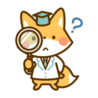 Observation with Professor Kitsune with a magnifying glass