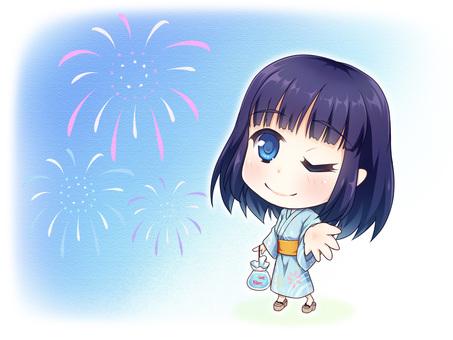 Yukata and fireworks (A)