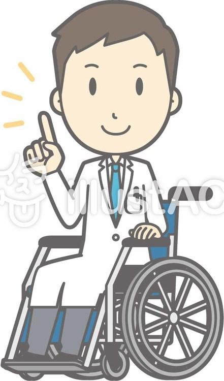 青年医師-車椅子指差し-全身のイラスト