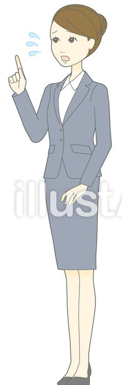 D女性スーツ-指差し汗-斜め全身のイラスト