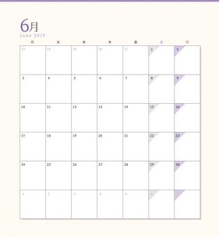 シンプルカレンダー2019年6月
