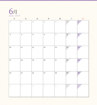 Simple Calendar June 2019