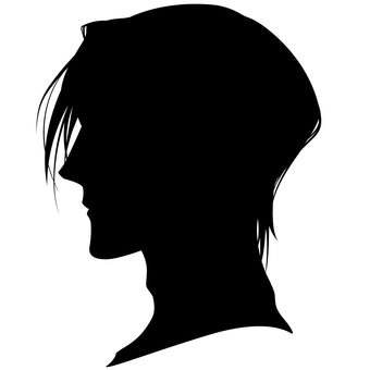 Male Hairstyle Side Face Silhouette 05