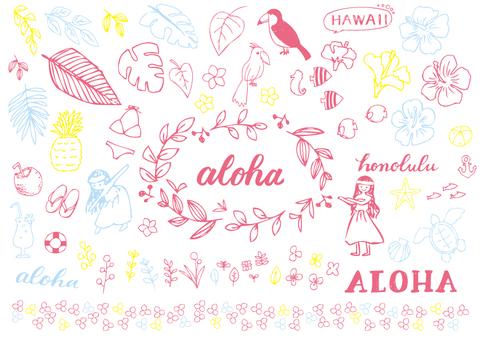 ハワイの手描き素材