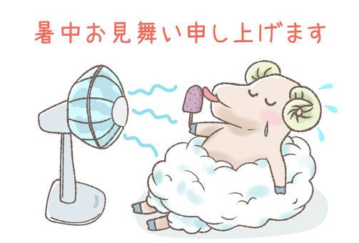 Summer greeting of sheep