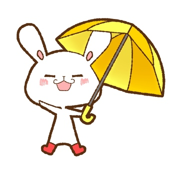 Rabbit holding an umbrella