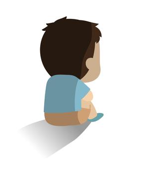 Illustration of a depressed child / dark feeling