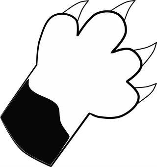 Nyanko's hand. Black and white
