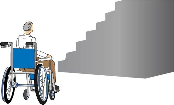 In front of the stairs ... an elderly man in a wheelchair