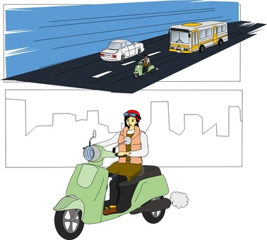 A woman running on a scooter (cartoon style)