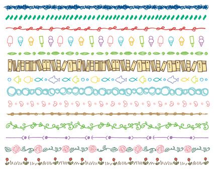 Line handwriting various colors
