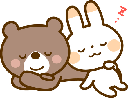 Rabbit and bear in lunch time