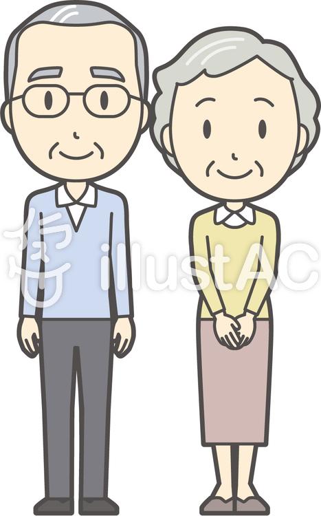 男女セット老人-030-全身のイラスト