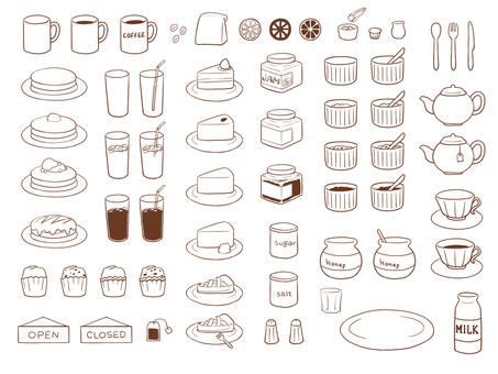 Cafe material set (line drawing)