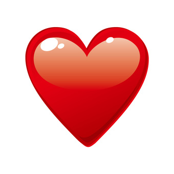 Glossy heart icon button