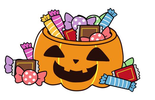 【ハロウィン】お菓子入カボチャのランタン