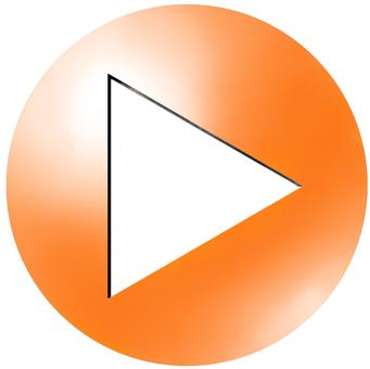 円形アイコンtype2 三角矢印 橙