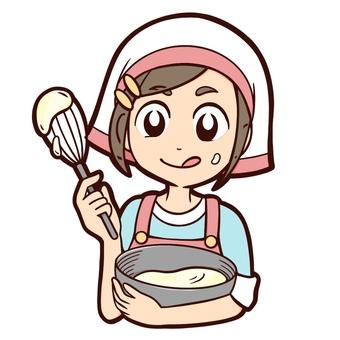 Girl stirring cream