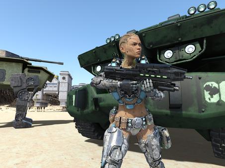 惑星基地で銃を構えるアンドロイド戦士