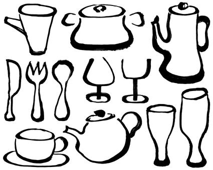 Kitchen miscellaneous goods handwritten illustration
