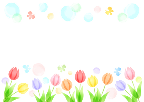 Soft image tulips and butterflies background