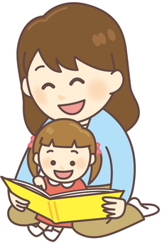 Parents and children _ reading picture books (1 child)