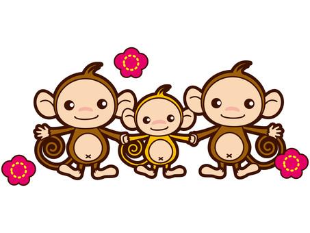 三人家庭的猴子