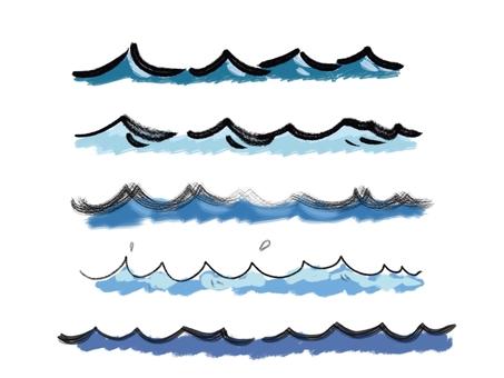 붓 기호 바람의 물결 라인 블루