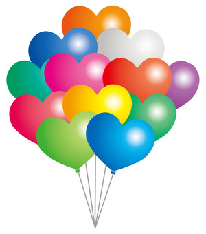 Colorful Heart type balloon bunch ☆ for events ☆