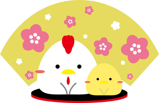 Parent and child of a rooster who bow to New year's card