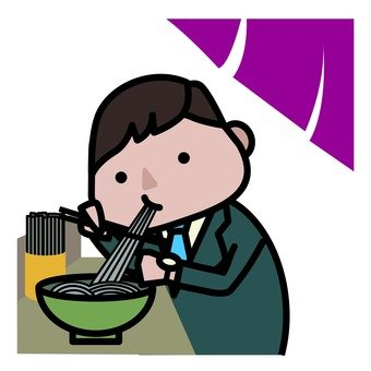A man eating standing eating soba