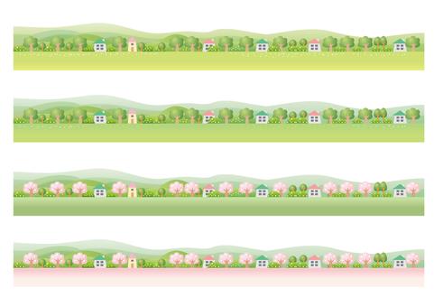 Spring landscape Footer Various