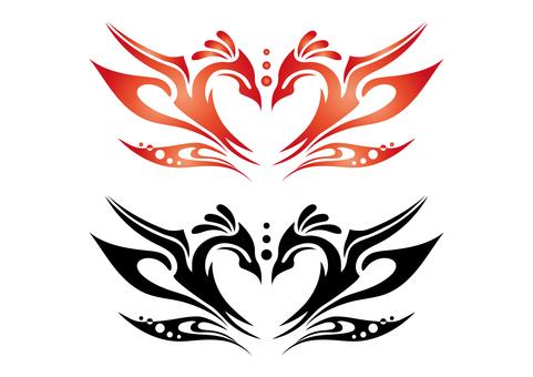「ハート+羽根」トライバル