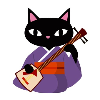 Cat playing the shamisen