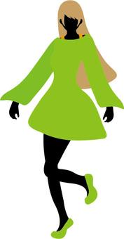 Fashionable women skipping