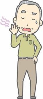 Elderly man d - Yawning - whole body