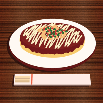Image of Okonomiyaki placed on the table