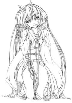 Kashima Maehime (Line drawing)