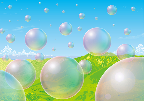 Mountain and soap bubbles