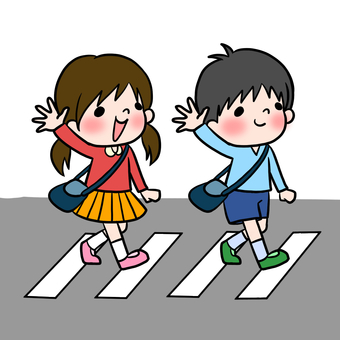 Traffic Safety Child crossing the crosswalk