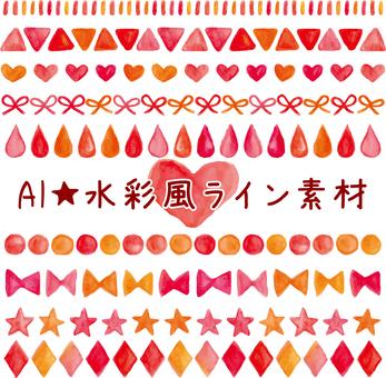 水彩风线材料_红色