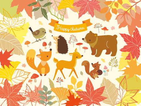 Illustration collection of autumn forest (4)