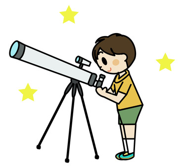 Astronomical telescope and boy