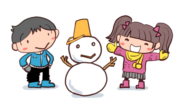 Boys and girls making a snowman