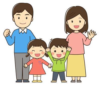 4 인 가족의 일러스트