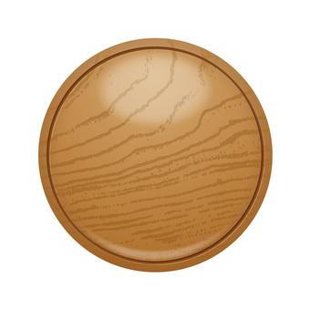 Round wood grain three-dimensional icon button