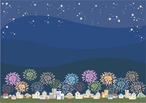 Fireworks rising town