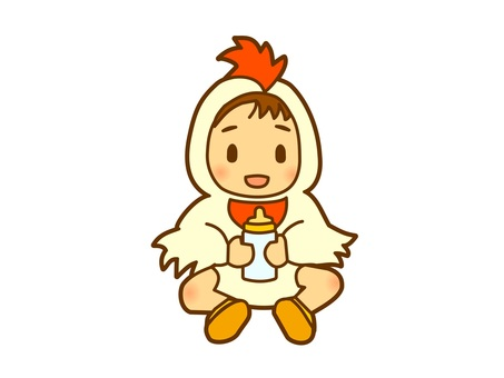 Baby in a rooster costume _ No pacifier
