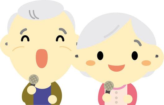 Elderly people enjoying karaoke